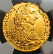 1781/79 Spain Charles Iii. Large Gold 4 Escudos Coin. Overdate Ngc Au-55