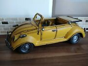 Vintage Yellow Volkswagen Style Beetle Tin Toy Vw Convertible Car Automobile