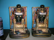 Antique Book Lover Library Bookends Armor Bronze Clad, Orig Paint + Labels, 1920