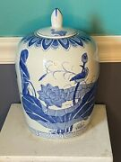 Antique Blue And White Chinese Ginger Jar Birds And Flowers Ming
