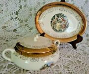 Sabin Crest O Gold 22k Covered Casserole Dish W/lid And Platter Rare Excellent