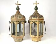Luxury Antique Pair Of Processional Lanterns Painted Sheet Cross Flowers 19th