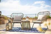 Barton 3pcs Bistro Chat Patio Wicker 2 Chairs Glass Top Side Table With Soft ...