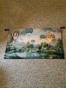"""Nicky Boehme Wall Tapestry """"balloon Glow"""" Hot Air Balloons With Rod."""