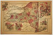 County Map Of State Of New York Antique S.a. Mitchell Original Map 1885