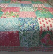 Pottery Barn Pineapple Party Patchwork F/q Quilt Lilly Pulitzer Pink Queen