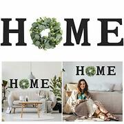 Hanging Wood Home Sign With Artificial Eucalyptus Wreath For O Farmhouse Wall...