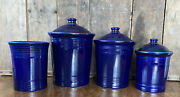 New Fiestaware Canister Set Blue- 1 Each In Sm And L Plus Utensil Crock