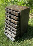 Large Asian Solid Wood Box Chest 8 Drawer Spice Jewelry Organizer Antique