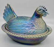 Vintage Blue Iridescent Carnival Glass Hen On Nest Indiana Glass Co. Chicken