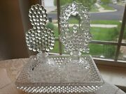 Vintage Dish Of Hobnails 2-perfume Vanity Set 5-pcs. Very Chic Lovely And A+