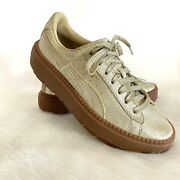 Gold Trace Glitter Sparkly Platform Sneakers Womens Size 7 Lace Up