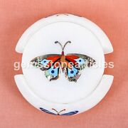 Marble White Coffee Mug Holder Coaster Set With Plate Multi Stone Butterfly Art