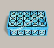 Modern Collectible Jewelry Organizer Box Turquois Inlaid Mosaic Art Loves Gift