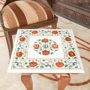 White Marble Decorative Cocktail Table Top Carnelian Inlay Floral Work Home Deco