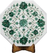 12x12 Marble White Wall Tile Malachite Inlaid Floral Art Collectible Gift Deco