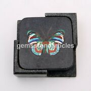 Black Marble Coffee Mug Holder Coaster Set With Coaster Plate Butterfly Art Deco