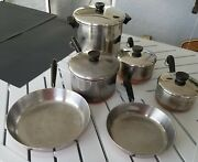 Revere Ware 1801 Copper Bottom Cookware 10 Pc Set Lot Of 10 Vintage Pot And Pans