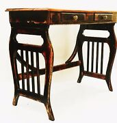 Folk Art Shab Chicoak And Black And Red French Country Antique Desk Side Sofa Table