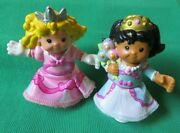 Fisher Price Little People 2 Princess Mia And Sarah Castle Bendable Figures Lot