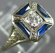Antique Art Deco .26ct Old Mine Diamond And Aaa Sapphire 18k White Gold Ring 27347