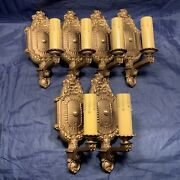 Set Of Six 6 Antique Polychrome Finish Wall Sconces Fixtures Newly Wired 64f