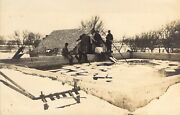 4 Men Harvesting Ice From A Concete Pond Real Photo Postcard. Occupation