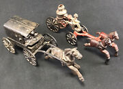 Cast Iron Toy Lot Very Creepy Amish Family W/ Horse And Buggy + Fire Tank Wagon