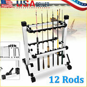 12 Rods Fishing Rod Pole Holder Stand Organizer Rack Eests Lightweight Outdoor H