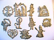 Vintage Lot Of 11 Pewter Christmas Ornaments - Nativity, Angels, Snowmen And More
