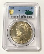 Peace Silver Dollar 1934 P Pcgs Ms-65 Cac