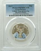 2017 Royal Mint Tom Kitten 50p Fifty Pence Silver Proof Coin Pcgs Pr70 Dcam
