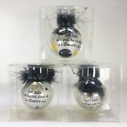 Pittsburgh Steelers Humorous Christmas Holiday Set Of 3 Feathers Glass Ornaments