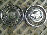 Two 13 Inch Vintage Chevrolet Corvair Wire Spinners Hubcaps Wheel Covers Chevy