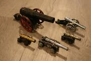 Lot Of 5 Vintage Antique Metal Cannon Model Toy Replica Military War
