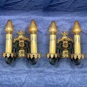 Pair Original Finish Arts And Crafts Double Candle Wall Sconces Rare 67e