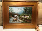 Beautiful Vintage Oil Painting Of Ducks Swimming 12x16 Gold Frame Signed
