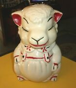 Rare Old Vintage Original American Bisque Cookie Jar Lamb 11 3/4 Tall 1940/50and039s