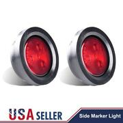 2x Red New Round 4led Trailer Side Marker Led Clearance Light 12v Lorry Usa