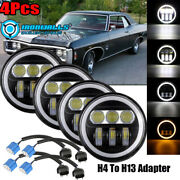 4x 5.75inch Led Projector Headlight Angle Eyes Drl Fit For Dodge Charger Impala
