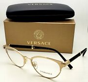 New Versace Reading Glasses Ve 1259-q 1444 54-17 Gold Frames W/ Leather Readers