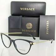 New Versace Reading Glasses Ve 3261 Gb1 54-17 Black And Gold Cateye Frames Readers