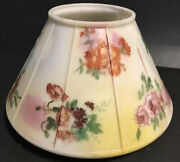 Vintage Glass Light Lamp Shade Gas Electrical Oil Paneled Multi - Flowers