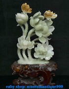 20and039and039and039 China 100 Natural Xiu Jade Hand Carved Lotus Flower Golden Toad Sculpture