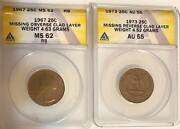 Missing Clad Layer Error Quarters 1967 Anacs Ms62rb Obv And 1973 Anacs Au55 Rev