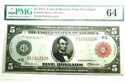 Fr835b 1914 5 Red Seal Federal Reserve Note Cleveland 4-d Pmg Certified Cu-64