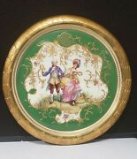 Antique 15.5 Dresden Handpainted Couple Playing Tennis Framed Charger Plate