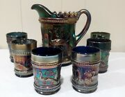 Northwood Blue Carnival Glass Peacock At Fountain Water Set Pitcher 6 Tumblers