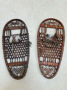 Vtg Wwii Snow Shoes U.s. C.a. Lund. Hastings Minnesota. Leather-wood 13 X 28