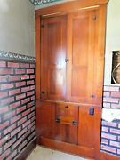 1880and039s Antique Butlers Pantry Cabinet - Original Fir Craftsman Style Ornate